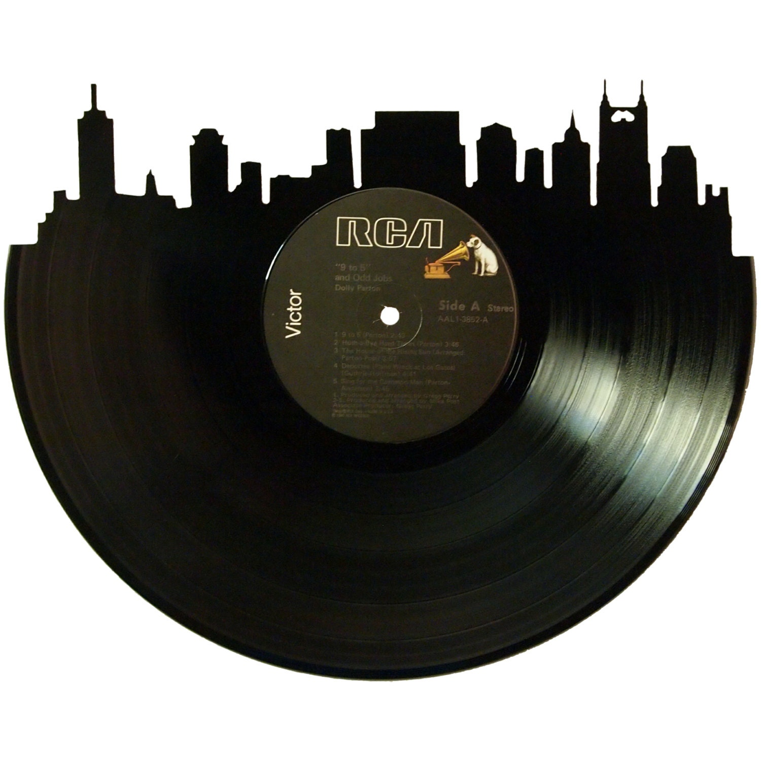 Nashville skyline vinyl record wall art by recordsredone for Vinyl record wall art