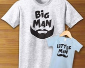 Big Man Little Man Adult Shirt And Baby One Piece Bodysuit PAIR