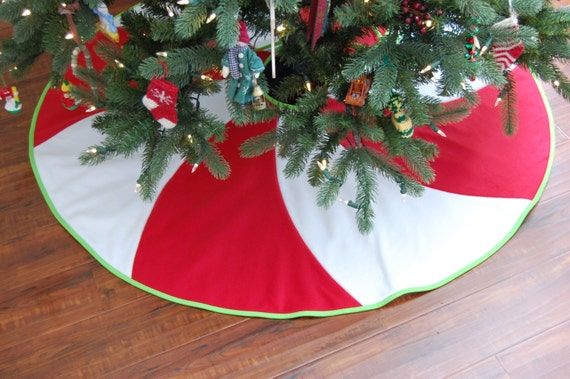Items similar to Peppermint Swirl Christmas Tree Skirt 54 ...