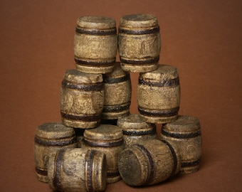 Miniature Wooden Barrel for Your Dollhouse