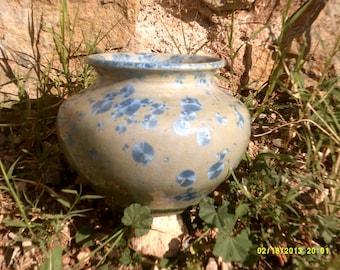 blue crystalline glazed pottery vase