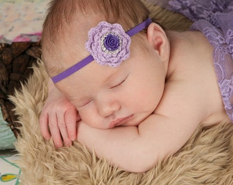 Lavender Baby Headband, Purple Baby Headband, Lavender Flower Headband, Crochet Flower Headband, Newborn Photo Prop, Baby Shower Gift