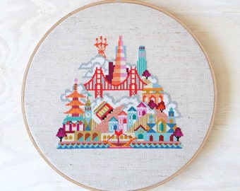 Pretty Little San Francisco - Satsuma Street Modern Cross stitch pattern PDF - Instant download