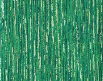 Green Christmas Print, Quilting Cotton Fabric, Shiny Gold Streaks, half yard, B26