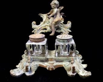 Bronze Antique Crystal Two Inkwells w/ natural green Patina Cherub on top C1895 ~On Sale