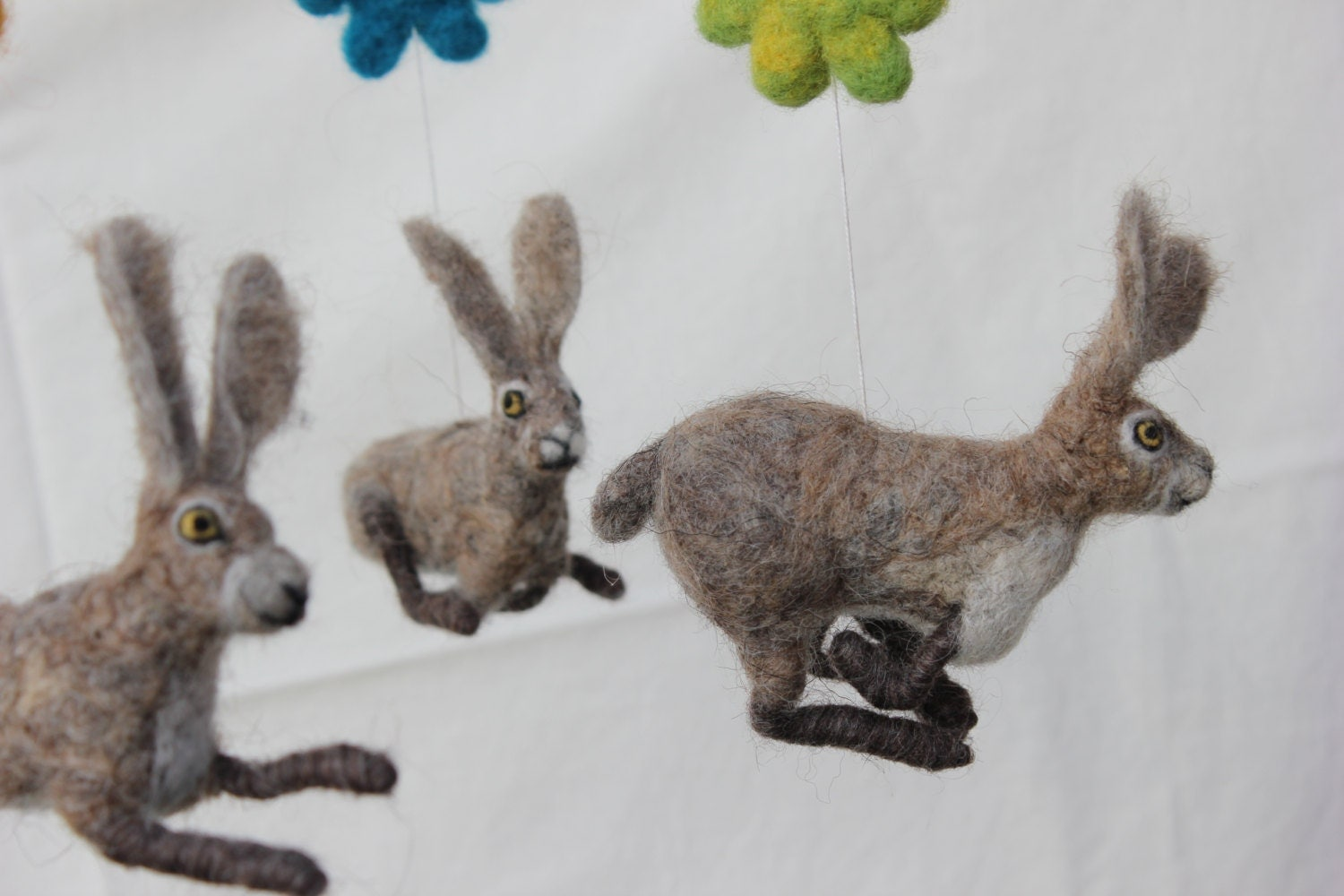 Felted Baby Mobile Hares Dance