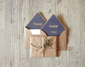 Writing set -  thank you envelope stationary - thanksgiving - writing paper eco friendly recycled kraft brown envelope - europeanstreetteam