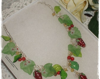 Lampwork glass Strawberry necklace, English Summer necklace, Strawberry necklace, Strawberry statement necklace