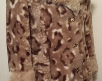 Vintage Woman's Leopard Print Faux Fur Coat