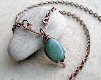 Green Aventurine Copper Necklace, Sterling Silver, Oxidized, Simple, Hammered,Green, Gemstone, Heart Chakra, Bride, Wedding
