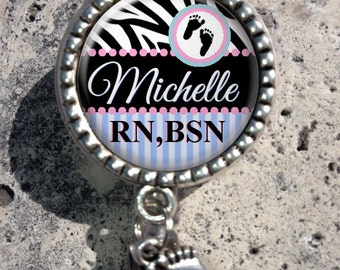 Personalized RN BSN Retractable Id Badge Reel with Charm, Badge Id Reel, Nurse Badge Reel, Lpn, Np, Nicu, Labor Delivery