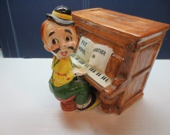 Rare Music Man Music Box And Coin Bank Plays Put Another Nickle In