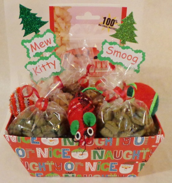 Christmas cat or ferret treat gift basket with toys, gift, holiday, personalized cat gift, cat nip, balls