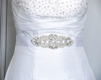 Wedding Sash, Rhinestone Bridal Belt, Crystal Satin Wedding Dress Sash, Jeweled Beaded Wedding Belt, Satin Dress Sash, Champagne, Ivory