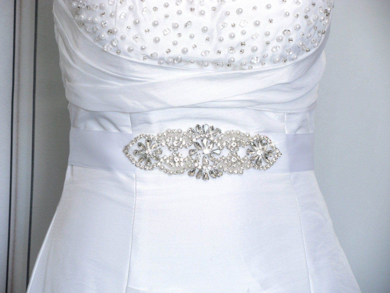 Wedding sash rhinestone bridal belt crystal satin wedding for Wedding dress sash with rhinestones