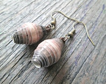 Brown Paper Bead Earrings - Paper jewelry - Earthy earrings - Eco-friendly jewelry - Upcycled, recycled, repurposed