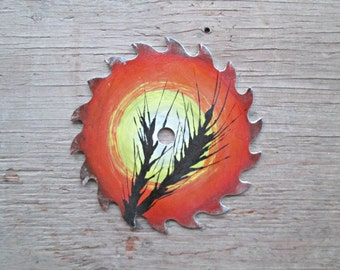 Painted Round Sawblade - Wheat Painting - Fall Scene Painting - Farm Painting - Harvest Painting - Painting on a Round Sawblade