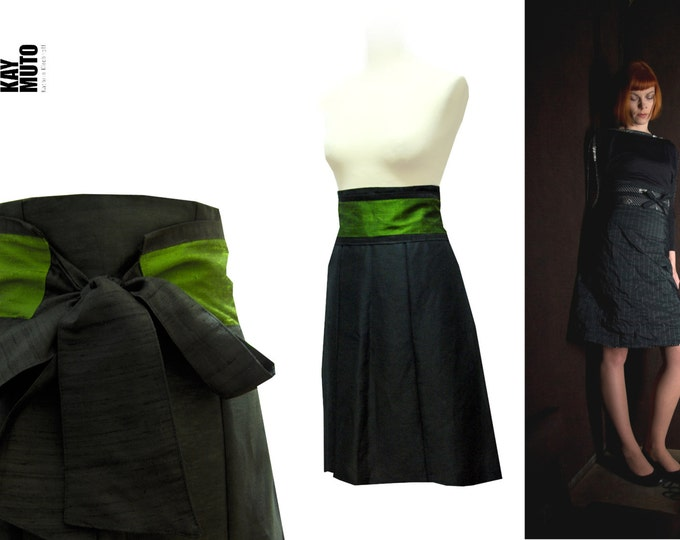 Silk skirt High waist skirt A- line skirt with Obi belt black olive