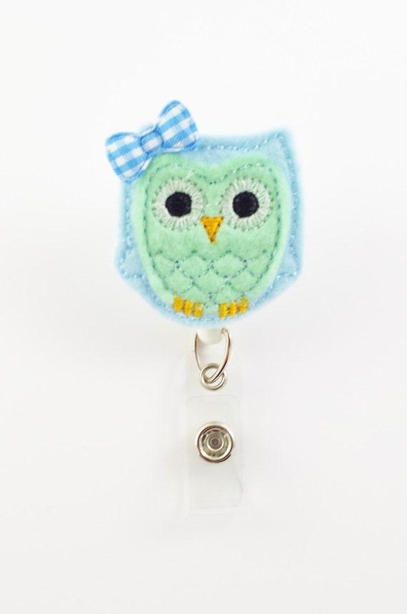 Light blue mint green owl felt badge reel retractable id - Light blue and mint green ...
