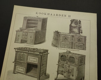"KITCHEN vintage print of cooking stove 1918 antique Dutch pictures about kitchens stove cook cooker - old prints kitchens 6x10"" small"