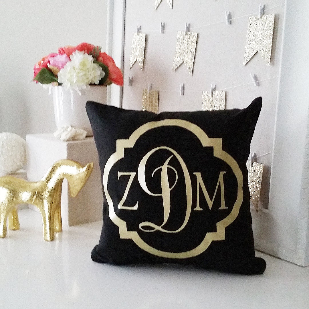 Monogrammed Throw Pillow Covers : Monogram Throw Pillow Cover Black Custom Pillows