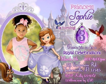 Digital Sofia the First Invitation, Sofia the First Invite, Clover Invitation