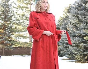 On Layaway Vintage 1940's Coat / Art Deco Coat / Winter Coat / Wool Coat /  size Large / XL
