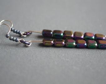 Square earrings glass earrings Metallic earrings Long earrings Rainbow earrings Geometric earrings Blue Purple Green Yellow Simple earrings