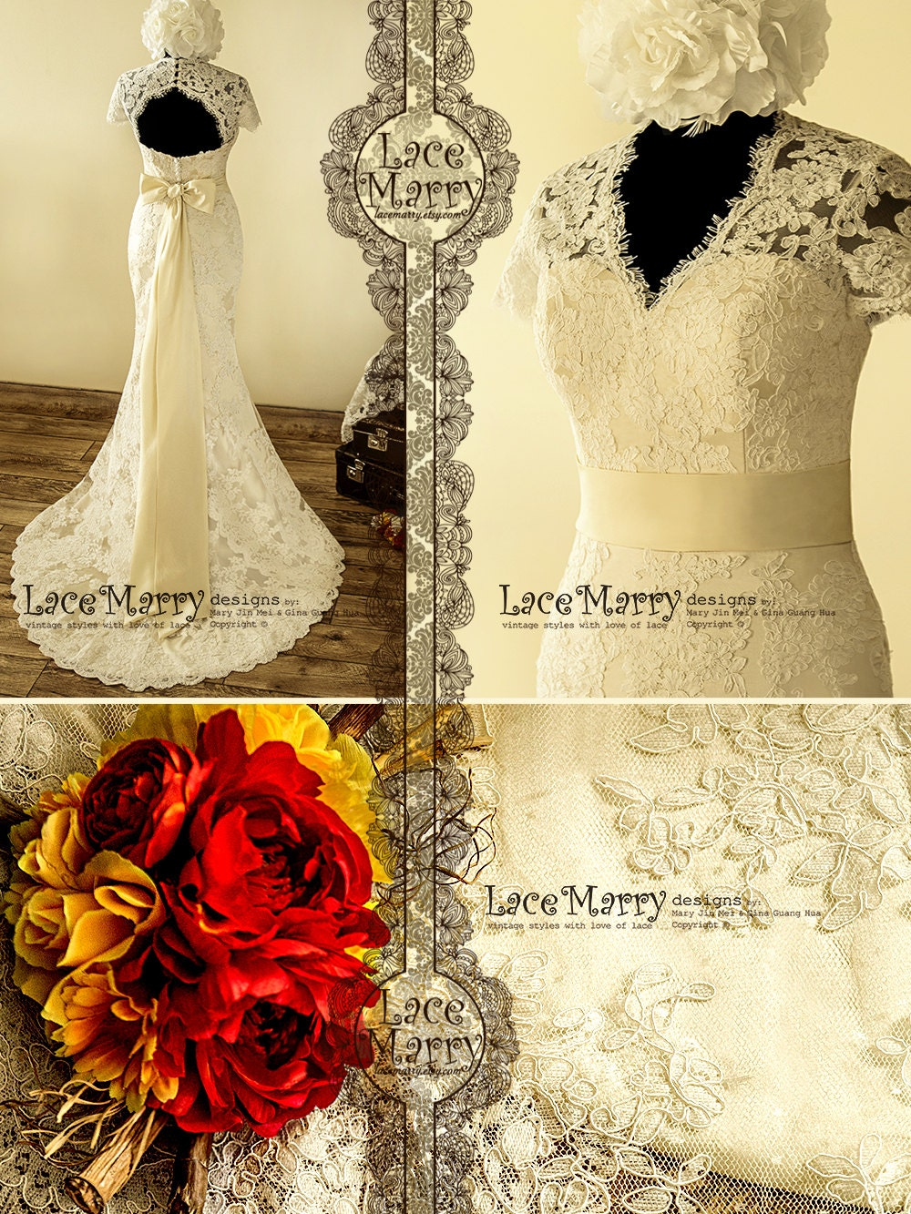 Dainty cream color underlay lace wedding dress with by for Cream colored lace wedding dresses