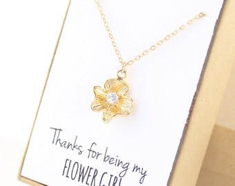 Gold Flower Girl Necklace - Flower Girl Jewelry - Thanks for being my flower girl - Gold Flower - Tiny Flower Necklace - Dainty Delicate