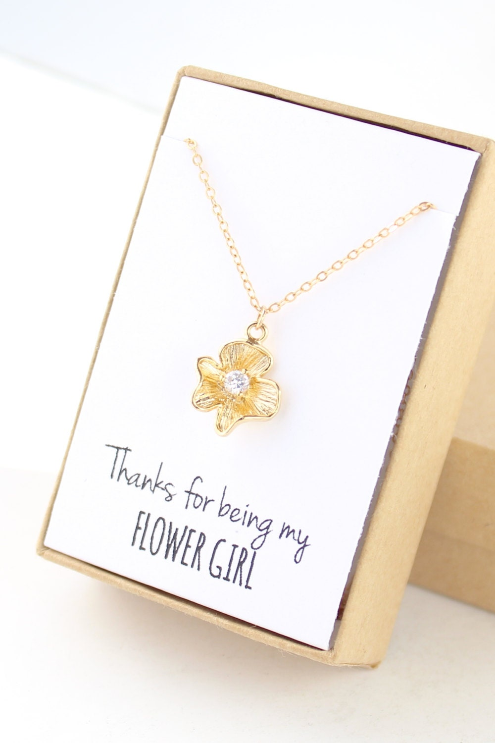 gold flower girl necklace flower girl jewelry thanks for