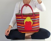 Large Fabric statement Women Purse - Multicolor Stripes Fabric Bag (red, yellow, white, blue, green) Budha felt applique - Madeira Souvenirs