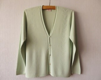 Mint Green Jacket Womens Knitted Summer Cardigan Light Green Jacket Size Medium