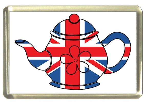 Union Jack Flag Teapot design Fridge Magnet 7cm by 4.5cm,