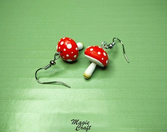 Polymer clay Fimo earrings Mushrooms mushrooms, toadstool mushroom earrings