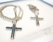 Cross long Necklace, silver metal with filigree details