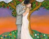 Wedding Kiss - Art - Matted PRINT Love Art, Lovers, Love, Art Painting, Wedding Inspired Artwork by Alla Gerzon Jewish Wedding Chupah