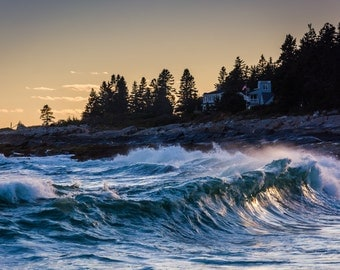 Large waves in the Atlantic Ocean seen from Pemaquid Point, Maine - Beach Photography Fine Art Print or Wrapped Canvas