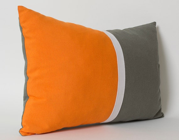 orange white gray lumbar pillow cover custom sizes sofa cushion decorative pillows throw. Black Bedroom Furniture Sets. Home Design Ideas
