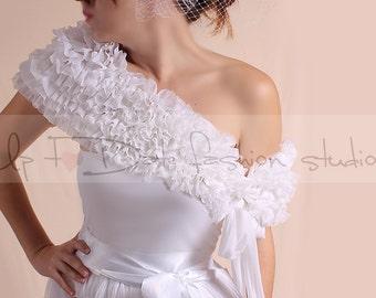 Bridal White fluffy ruffles  bolero/  scarf / shrug/ wedding  cape