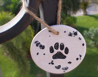 Dog Paw Print, ceramic tag, medium
