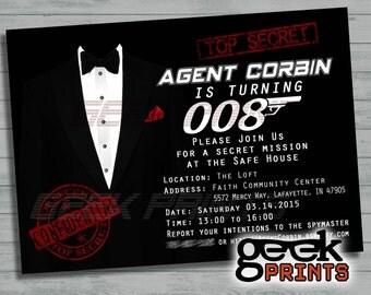 Secret Agent James Bond 007 Movie Theme Birthday Photo Invitation Custom Printable