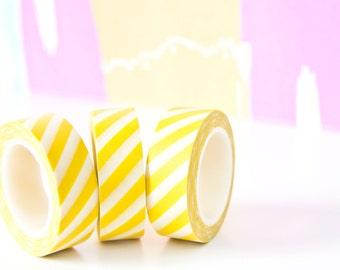 Yellow Washi Tape - Yellow Stripe Masking Tape - Airmail Masking tape