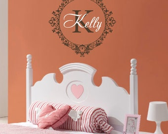 Nursery Monogram Name Wall Decal Baby Girl Vinyl Frame Lettering