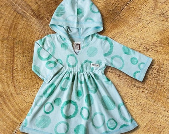Organic Baby  Dress, Hooded Tunic Dress
