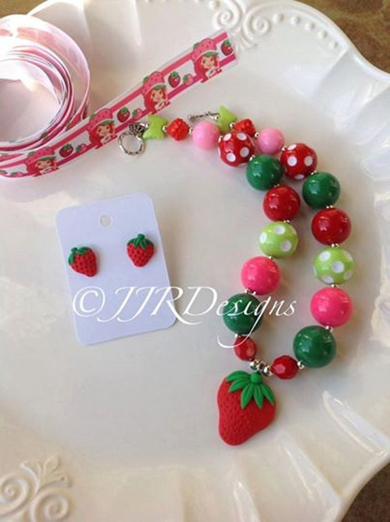 Strawberry shortcake inspired girl necklace strawberry for Strawberry shortcake necklace jewelry