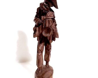 Vintage South America Folk Art Carved Wood Figurine Peddler Traveler