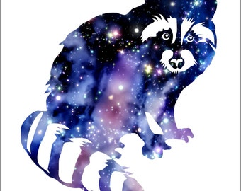 RACCOON Watercolor Painting Archival Art Print 8 x 10  Raccoon Watercolor Silhouette Painting  Print  Wall Decor Home or Office