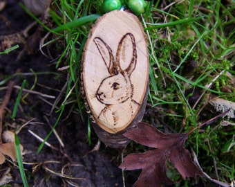 Wooden necklace with rabbit