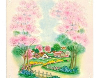 Vintage UNUSED BIRTHDAY Card PINK Glitter Trees Cottage Village Winding Country Road